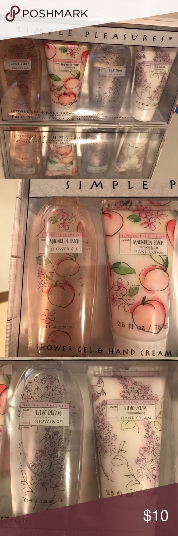 Simple Pleasures Shower Gel & Hand Cream Simple Pleasures shower gel and hand cream in magnolia peach and lilac dream! Never been used! Hand creams still have seals on them! Hand creams are 2.5 ounce and shower gels are 4.5 ounces! simple pleasures Other