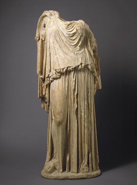 Statue of Eirene (personification of peace), ca. 14–68 A.D.; Julio-Claudian  Roman copy of a Greek bronze statue by Kephisodotos, ca. 375/374–360/359 B.C.  Marble  H. without plinth 69 3/4 in. (177.17 cm)  Rogers Fund, 1906 (06.311)