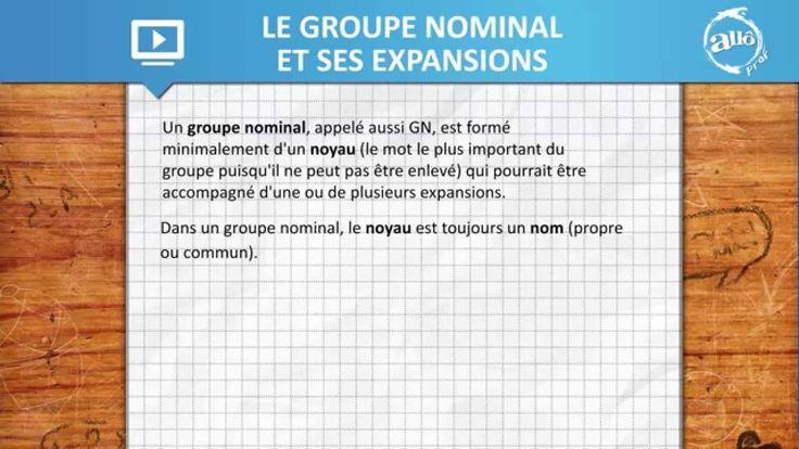 Allô prof - Le groupe nominal et ses expansions