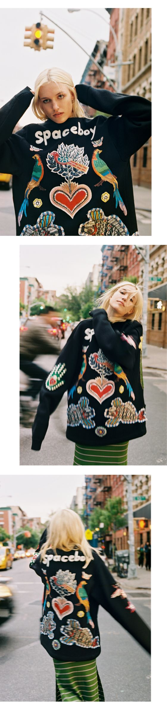 Carlotta Kohl, 23, a model, photographer, artist and sculptor, wears a Gucci wool cardigan embellished with different appliqués. Produced by Vogue for Gucci.