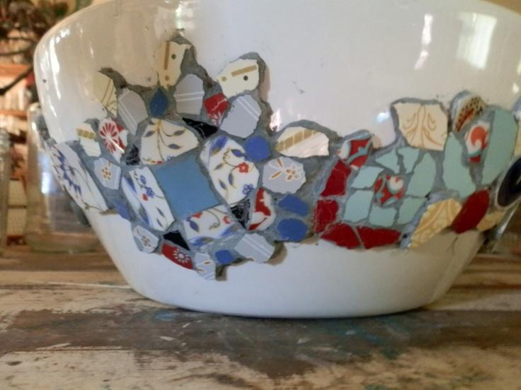 Bachas Para Baño Con Venecitas:Bacha para baño decorada con mosaicos