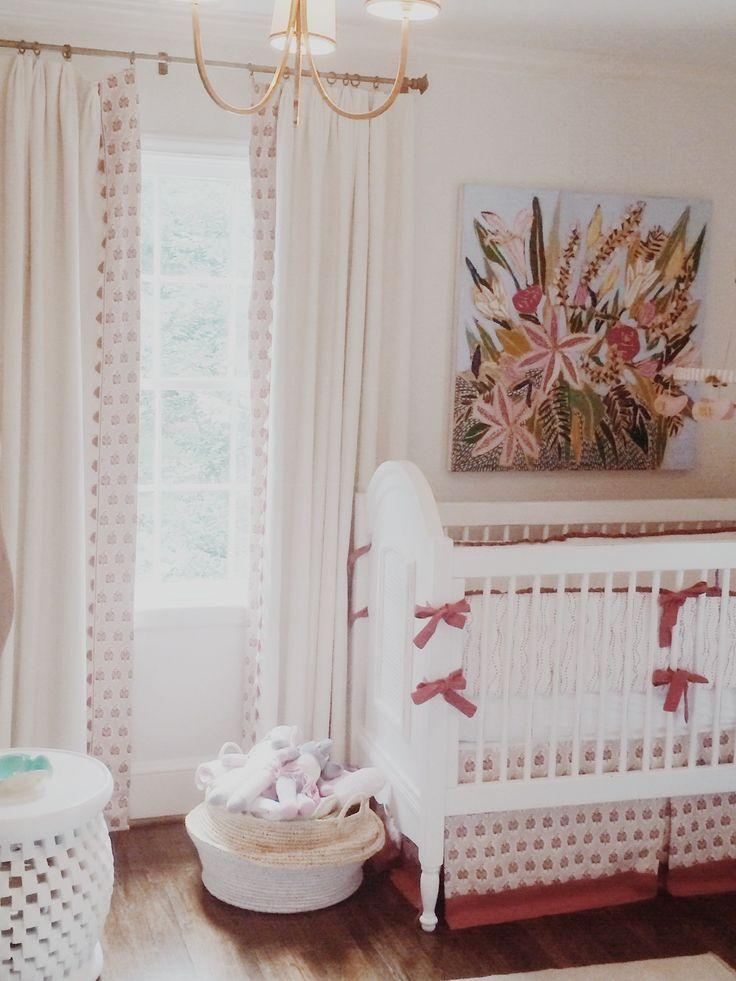 Lulie wallace floral painting in nursery artwork in situ for Painting sheer curtains