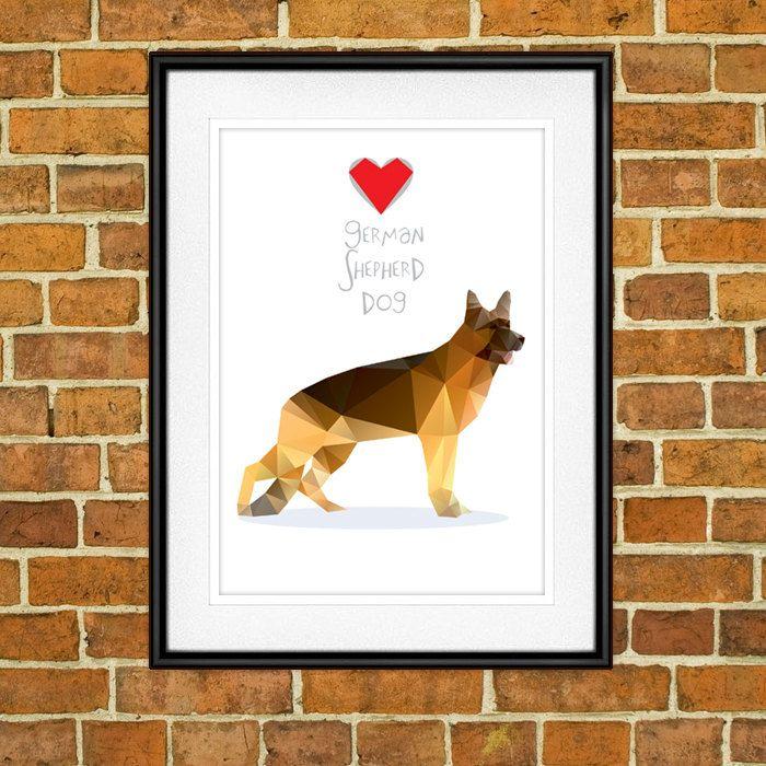 German Shepherd Dog, Digital Poster Print, Wall Decor by PSIAKREW on Etsy