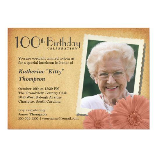 100th Birthday Vintage Daisy Photo Invitations Grandma Birthday