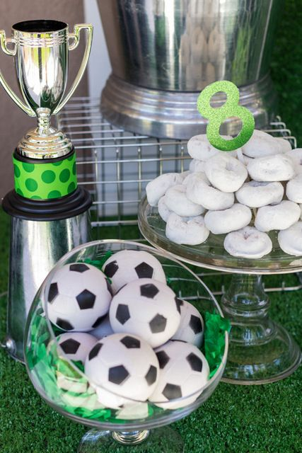 Party treats and decor at a Soccer Party #soccer #party