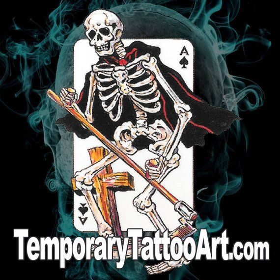 Design Your Own Tattoo Sleeve: Skeleton Ace Of Spades Fake TemporaryTattoo