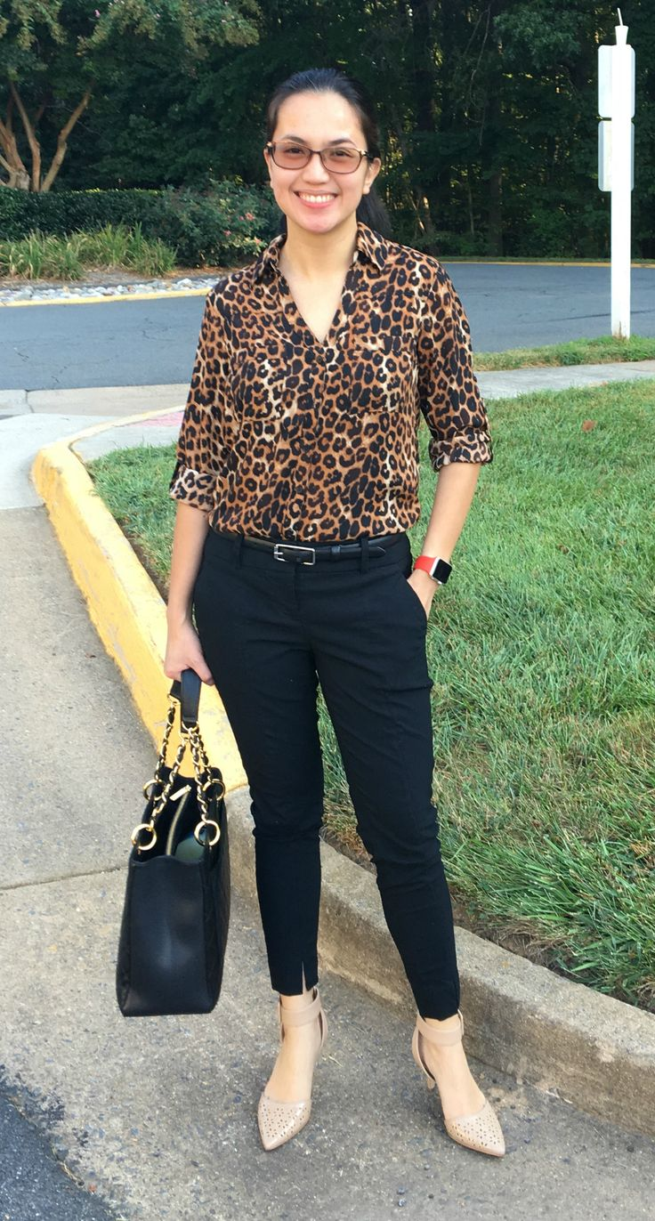 Woman wearing leopard print dress shirt paired with black ankle pants and a black belt, black Chanel GST tote, and a pair of Sam Edelman nude heels - office outfit idea for women in Summer. More information on https://oneawesomemomma.wordpress.com/2016/08/29/5-ways-to-wear-office-outfit-and-not-look-boring/ #fashion #style #outfit