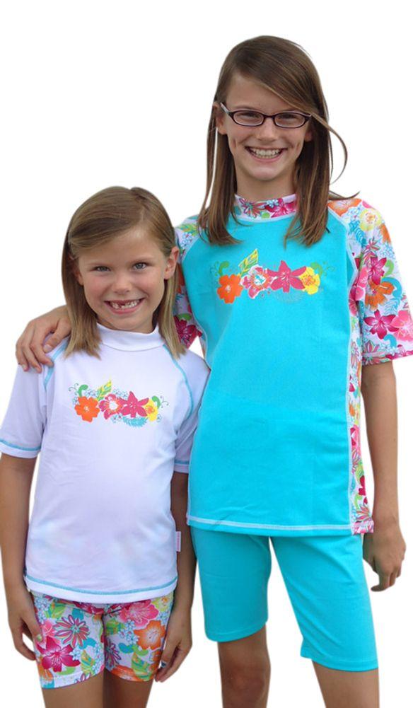 6d54169fdd048 Girls Rash Guard Swim Shirt and Shorts set -sizes 10-14 | for the kids | Rash  guard, Swimsuit with shorts, Uv swimwear