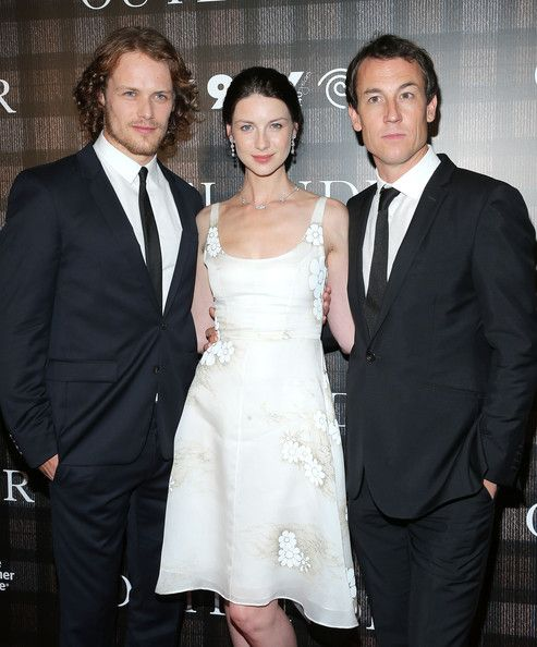 Sam Heughan Photos Photos - (L-R) Actors Sam Heughan, Caitriona Balfe and Tobias Menzies attend the 'Outlander' series screening at 92nd Street Y on July 28, 2014 in New York City. - 'Outlander' Screening in NYC