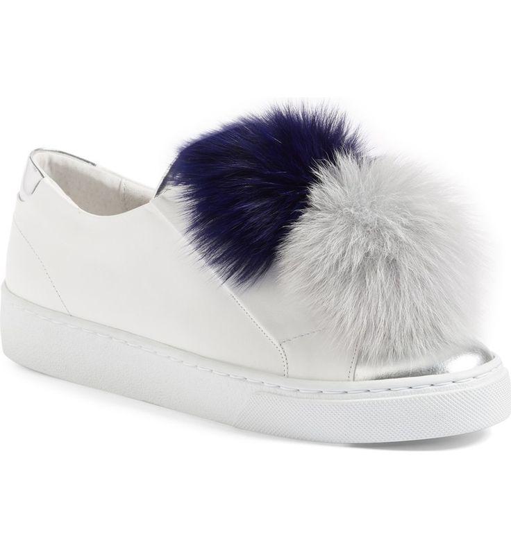 Main Image - Here/Now Arian Genuine Fox Fur Trim Sneaker (Women)