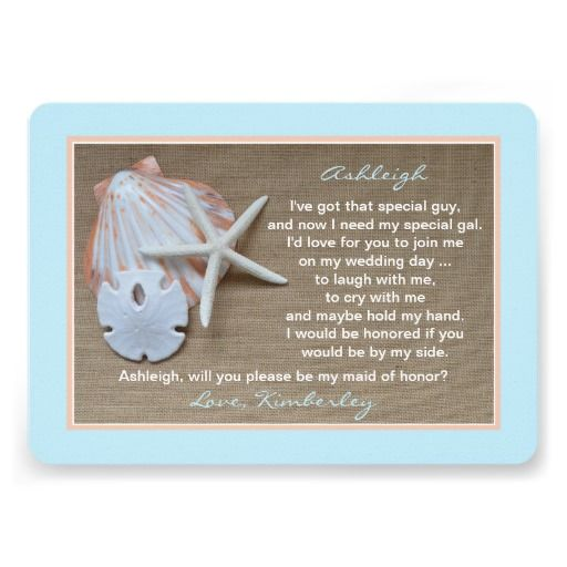 Shop Will You Be My Maid Of Honour Blue Beach Theme Card Created By Henishouseofpaper Find This Pin And More On Poems For Weddings