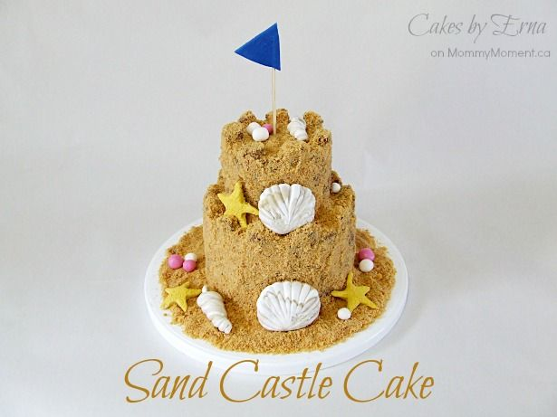 How to make a Sand Castle Cake on MommyMoment.ca #DIY #Cakes #SummerCakes