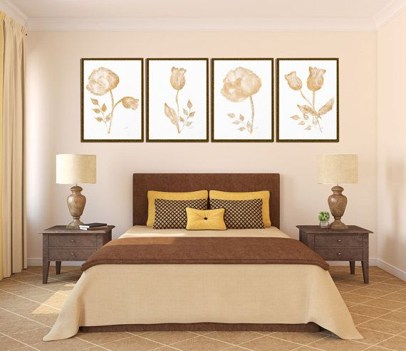 Watercolor flower Art print Bedroom décor Pastel painting Set