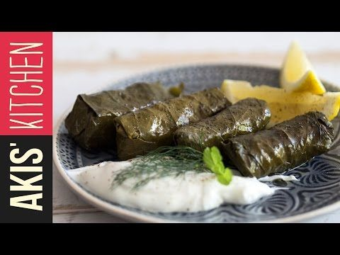 Greek Dolmades - Stuffed Vine Leaves   Akis Kitchen - YouTube