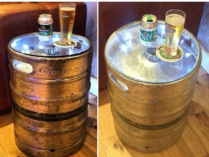 50 Liter Beer Keg Table With LED Lights.