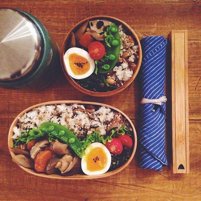 ひじきご飯 半熟卵 炒り鶏 ほうれん草のおかか和え オニオンスープ