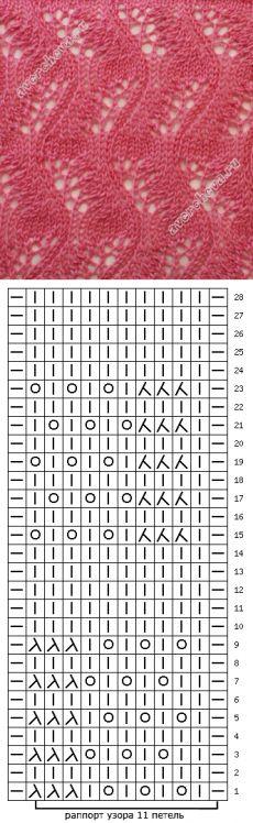 узор 317 вертикальный ажурный зигзаг | каталог вязаных спицами узоров