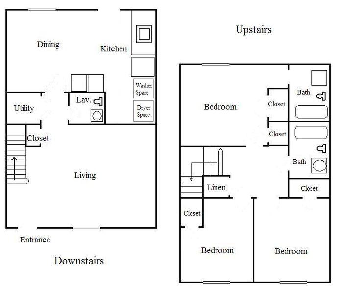 Two bedroom with den townhouse floor plans bedroom 2 5 for 2 bedroom townhouse floor plans