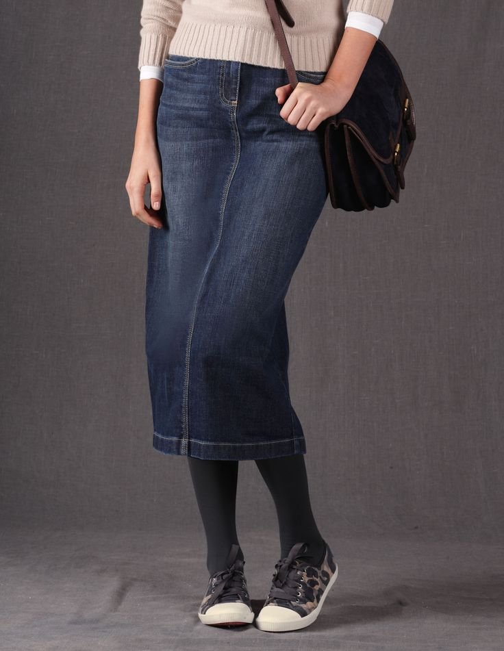 Another great denim skirt that comes in tall sizes. Boden.