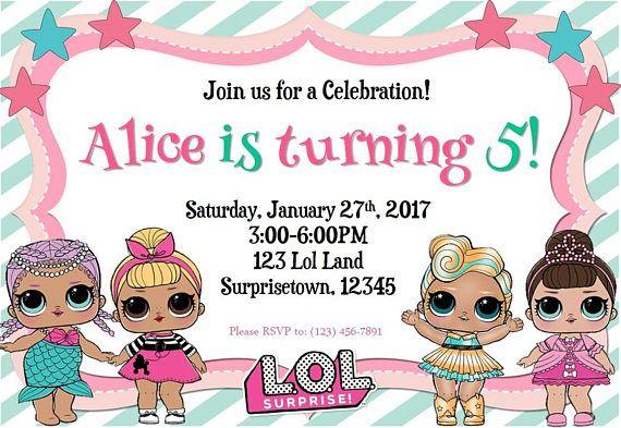 LOL Surprise Birthday Invitation cumpleaños Lol en 2019 Invitaciones de cumpleaños sorpresa