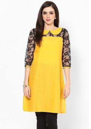 bow neck style yellow and black kurti