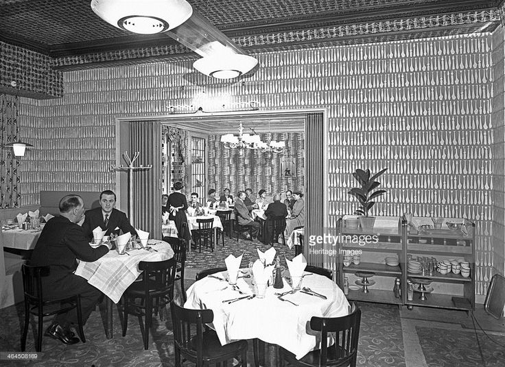 The Arcadian Restaurant with Art Deco wall covering, Barnsley Co-op, South Yorkshire, 1956.