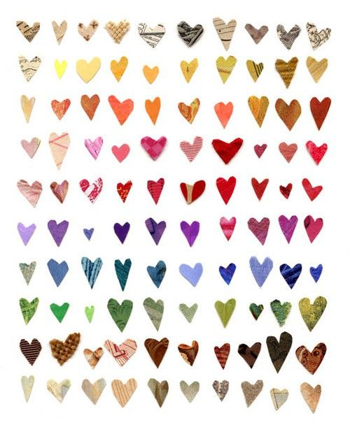 Hearts - out of scraps or magazines?Inspiration, Pattern, Valentine Day, Colors, Paper Heart, Heart Art, Mixed Media Collage, Art Projects, Crafts