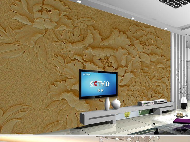 电视背景墙绘画囹�a_3D砂岩浮雕背景墙花卉浮雕牡丹砂岩装饰画图片设计素材_高清