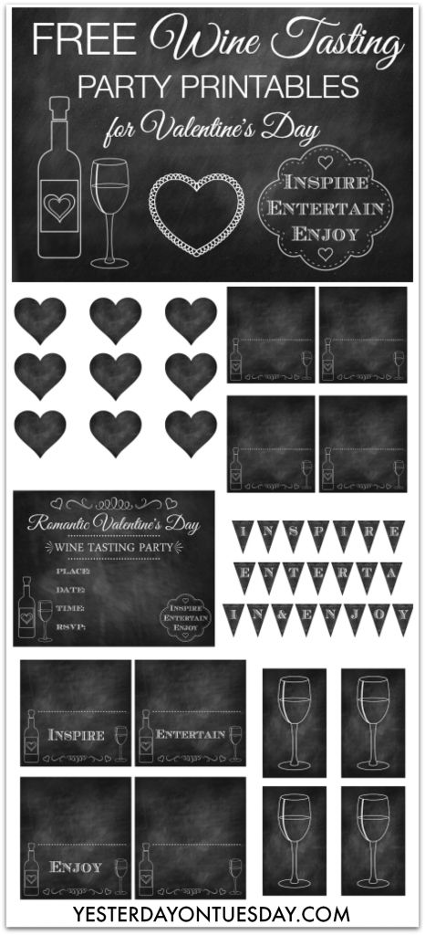Free set of Wine Tasting Party Printables #winetasting #chalkboard