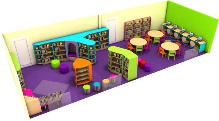 Bright and Colourful Primary School Library Design