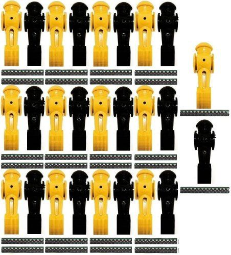 "26 Tornado Foosball Men Counter Balanced Roll Pin by Tornado. $128.97. These are 13 brand new yellow and 13 brand new black replacement players with roll pins.  Foosball Men are Counter Weighted  Player Dimensions: 1.3""D x 1.25""W x 4.3""H  Leg Width: 7/8""  Hole Diameter: 5/8"""