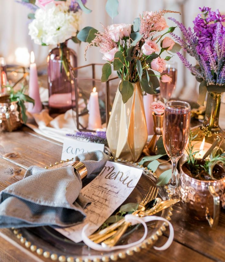 Lavender and pink place setting