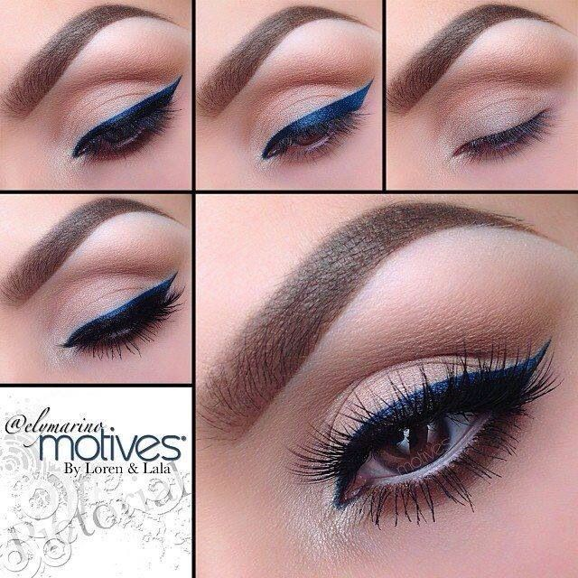 The sort of navy blue eyeliner is so beautiful and with the soft beige/cream colour it looks beautiful