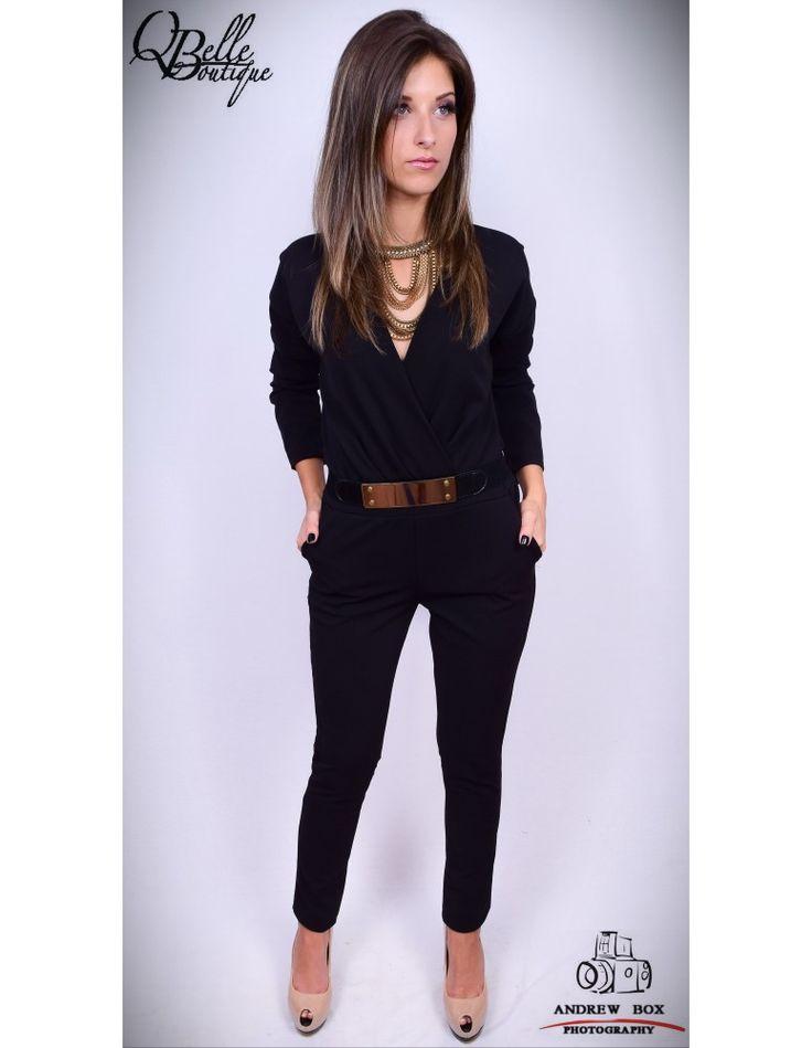 Salopeta neagra cu pantalon lung