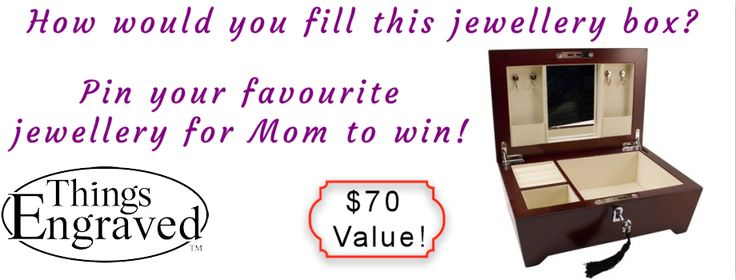 Pin to WIN a Mahogany Jewellery Box with Key for Mother's Day!  Enter #Contest here: http://bit.ly/1q6vIZp