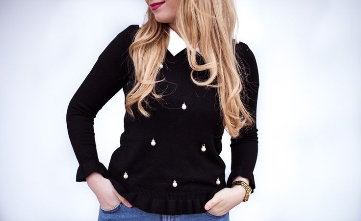 Black blouse with white pearls