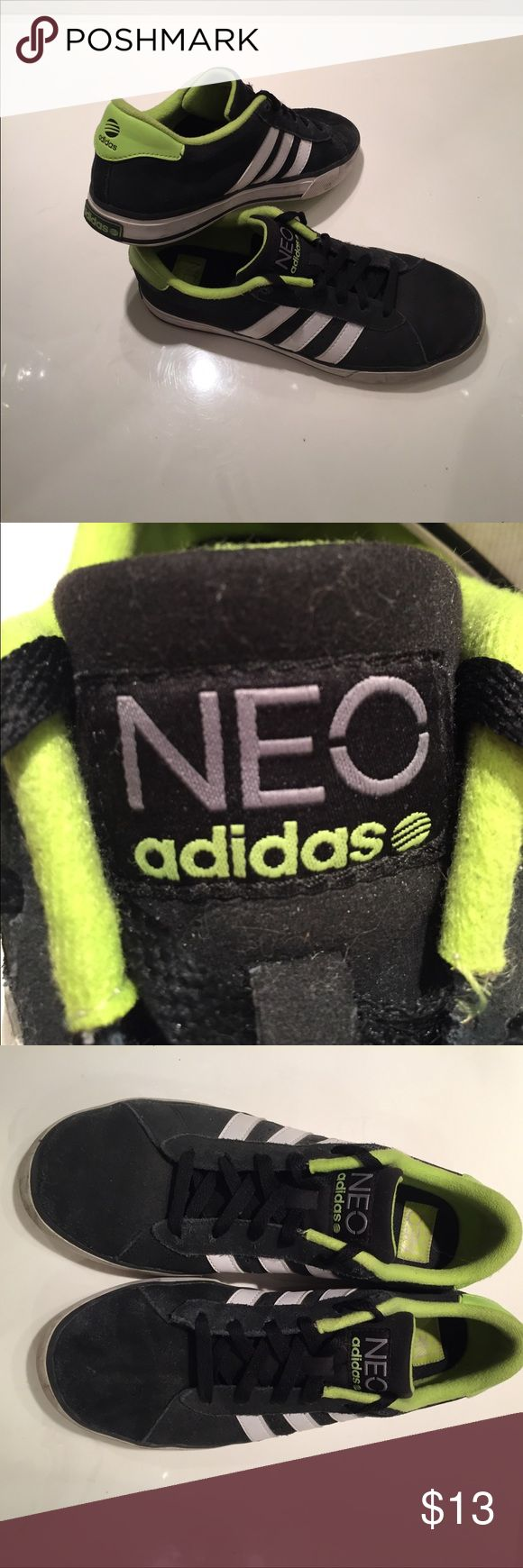 Adidas Neo Sneakers Black suede sneakers with neon green throughout! A little bit dirty and the aglet on one part of the lace is missing. Also a little bit of wear along the outside of the sole. Still really cool shoes!👍🏼 adidas Shoes Sneakers