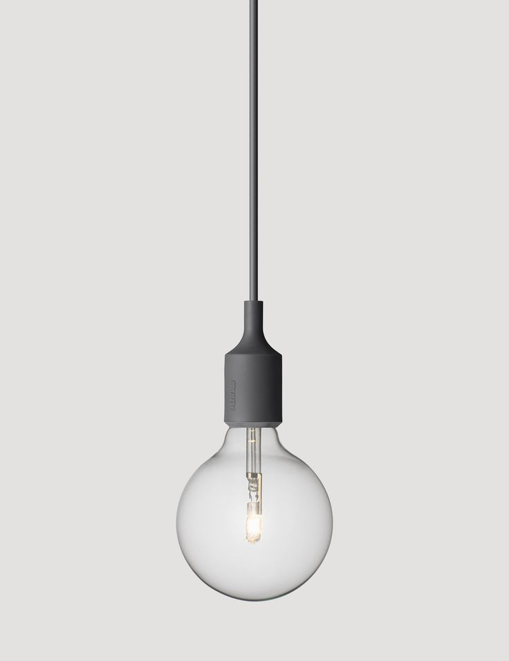 E27 has become a Muuto icon: A striking naked bulb that plays with the subtle aesthetics and simplicity of industrial design. Designed by Mattias Ståhlbom Comes in 13 different colors here in Dark Grey  #muuto #muutodesign