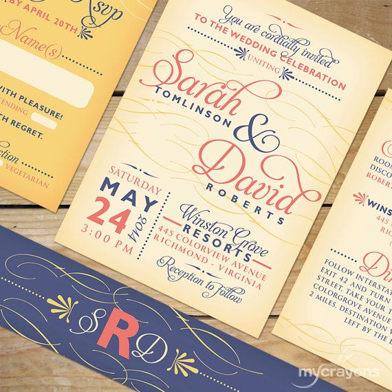 flourish calligraphy wedding invitation with belly band by mycrayons cream navy and coral - Navy And Coral Wedding Invitations