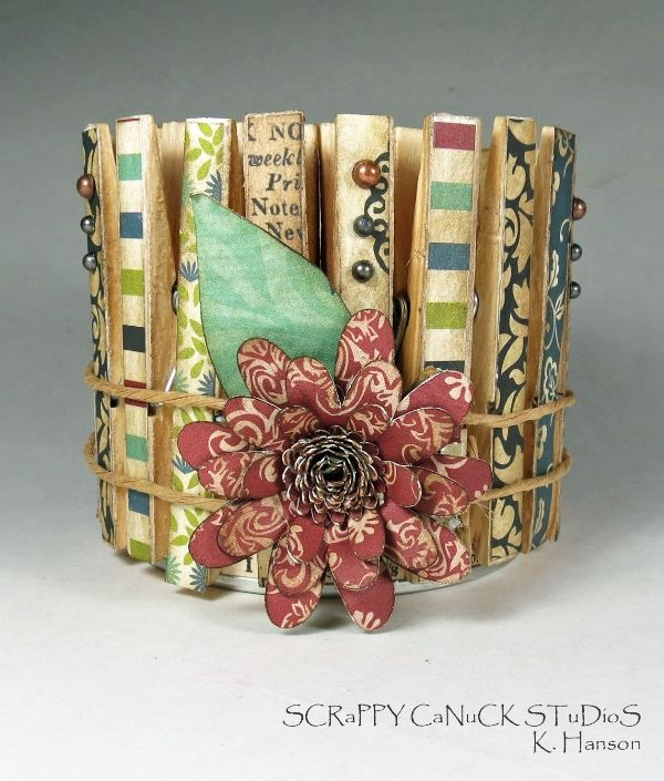 Decorative container using embellished clothes pins