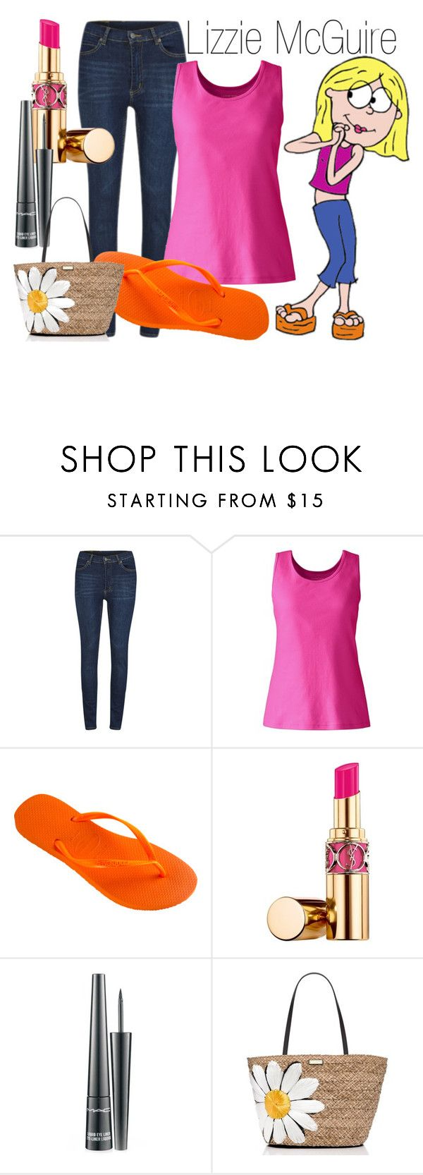 """Lizzie McGuire~ DisneyBound"" by basic-disney ❤ liked on Polyvore featuring McGuire, Cheap Monday, Lands' End, Havaianas, Yves Saint Laurent, MAC Cosmetics and Kate Spade"