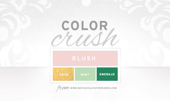 Beautiful Blush Wedding Palette with #Emerald Green, #Mint and #Gold <3