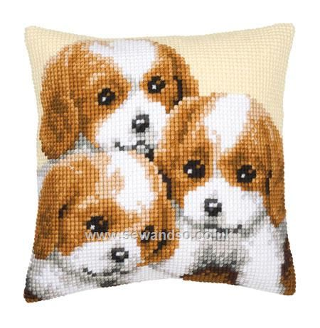 Buy 3 Puppies Cushion Front Chunky Cross Stitch Kit online at sewandso.co.uk