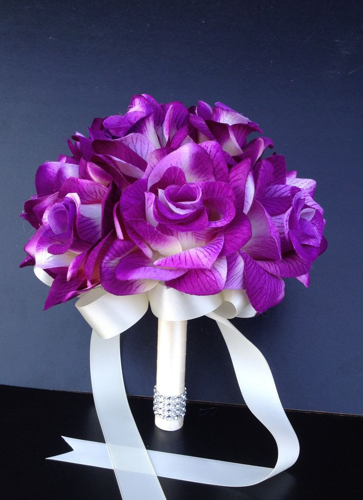 """8"""" Bouquet - Shades of Purple and Ivory Open Rose Bouquet"""