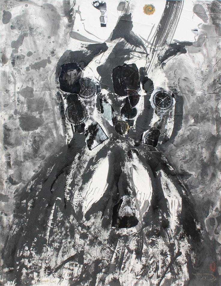 Shadows, 2001, 56x71cm<br> Ink/mixed media on rice paper/canvas