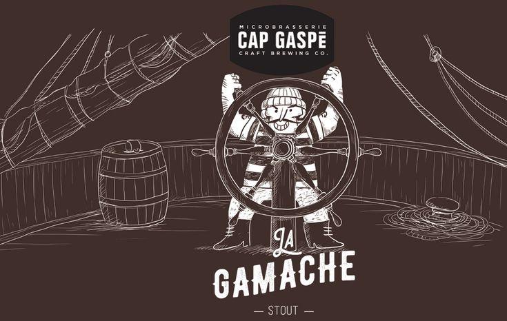 Étiquette de la Bière La Gamache de la Microbrasserie Cap Gaspé illustrées par Orbie www.orbie.ca