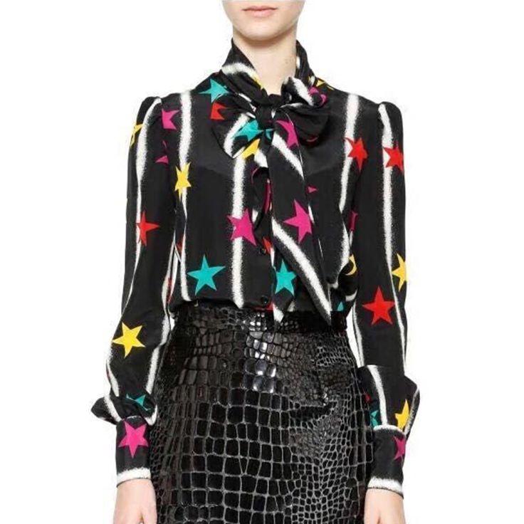 Vintage Blouse New 2017 Spring Summer Fashion Women Designer Star Stripe Print Slim Bow Soft High Quality Tops