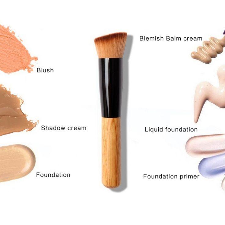 Multifunzione Spazzola di Trucco Professionale Fibra Morbida Flat Top Foundation Powder Angolato Pennello Cosmetico Strumento E5