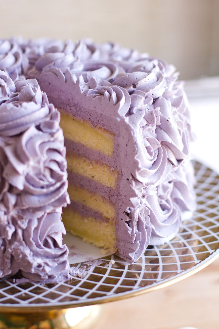 Lemon layer cake with blueberry lavender buttercream frosting. This recipe would also work as well in cupcakes. This would probably make between 24-30 cupcakes and you would have enough frosting for all the cupcakes. Beautiful for a bridal shower or wedding.