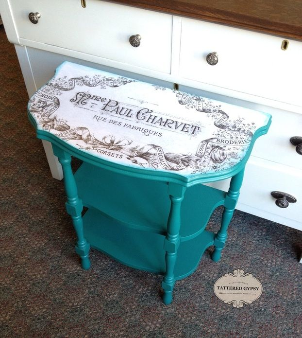 This sweet little table got a fresh new look with Fusion Renfrew Blue Mineral Paint..The Fusion Transfer Gel works its magic as a decoupage medium too!